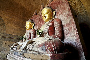 Sitting Buddha in a temple in Bagan, Myanmar, Asia