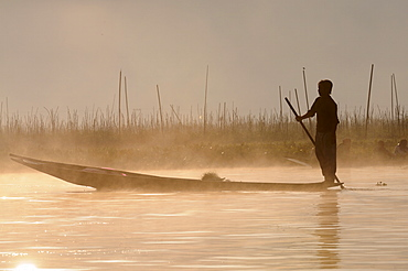 Man rowing his little rowing boat at sunrise on Inle Lake, Shan States, Myanmar, Asia