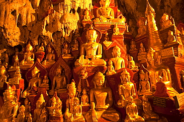 Golden Buddhist statues in the limestone caves of Pindaya, Myanmar, Asia