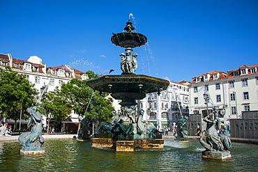 Fountain on the Rossio Square (Pedro IV Square), Lisbon, Portugal, Europe