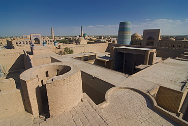 Overlooking the Mosques at Ichon Qala (Itchan Kala) Fortress, UNESCO World Heritage Site, Khiva, Uzbekistan, Central Asia