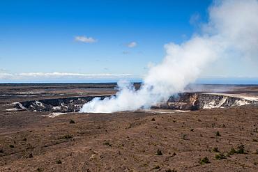 Smoking Kilauea Summit Lava Lake in the Hawaii Volcanoes National Park, UNESCO World Heritage Site, Big Island, Hawaii, United States of America, Pacific