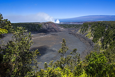 Volcanic crater before the smoking Kilauea Summit Lava Lake in the Hawaii Volcanoes National Park,UNESCO World Heritage Site, Big Island, Hawaii, United States of America, Pacific