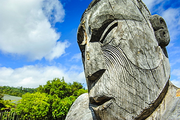 Traditional wood carved mask in the Te Puia Maori Cultural Center, Rotorura, North Island, New Zealand, Pacific