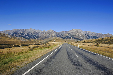 Road leading through the beautiful mountain scenery around Arthur's Pass, South Island, New Zealand, Pacific