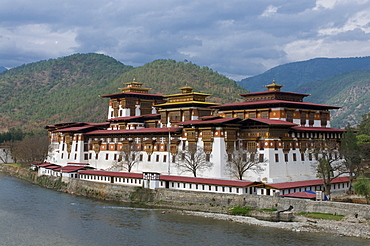 The old tsong, an old castle of Punakha, Bhutan. Asia