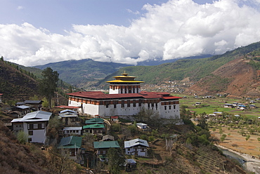 The tsong (old castle), now acting as a Buddhist monastery, Paro, Bhutan, Asia