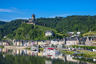 View over Cochem, Moselle Valley, Rhineland-Palatinate, Germany, Europe