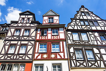 Half timbered houses on the market square in Cochem, Moselle Valley, Rhineland-Palatinate, Germany, Europe
