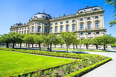 The Baroque gardens in the Wurzburg Residence, UNESCO World Heritage Site, Wurzburg, Franconia, Bavaria, Germany, Europe