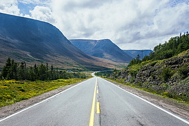 Straight Bonne Bay road on the east arm of the Gros Morne National Park, UNESCO World Heritage Site, Newfoundland, Canada, North America