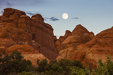 Full moon over Fiery Furnace, a maze like passageway, Arches National Park, Utah, United States of America, North America