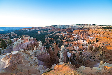 The colourful sandstone formations of the Bryce Canyon National Park in the late afternoon, Utah, United States of America, North America