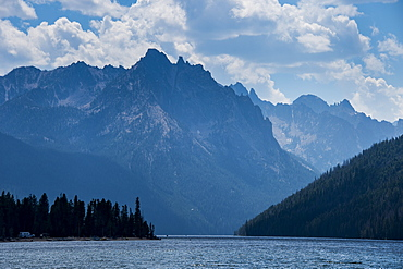 Redfish Lake in a valley north of Sun Valley, Sawtooth National Forest, Idaho, United States of America, North America