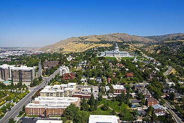 View over the Utah State Capitol and Salt Lake City, Utah, United States of America, North America