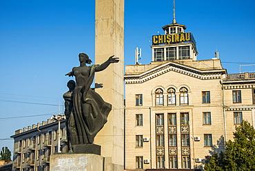 Liberty Monument at Liberty Square in Chisinau capital of Moldova, Eastern Europe