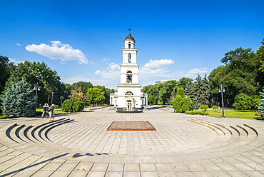 Bell tower before the Nativity cathedral in the center of Chisinau capital of Moldova, Eastern Europe