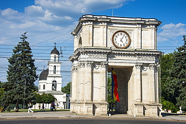 Arc de triomphe before the Nativity cathedral in the center of Chisinau capital of Moldova, Eastern Europe
