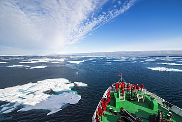 Expedition boat entering the pack ice in the Arctic shelf, Svalbard, Arctic