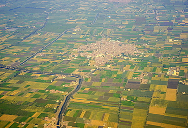 Aerial of suburbs of Cairo with a little channel for irrigation, Egypt, North Africa, Africa