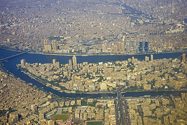 Aerial of the center of Cairo and the River Nile, Egypt, North Africa, Africa