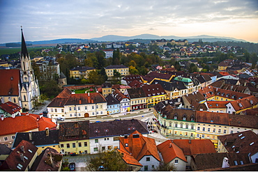View over the town of Melk from the Melk Abbey, Benedictine Abbey, Melk, Wachau Cultural Landscape UNESCO World Heritage Site, Danube, Wachau, Austria, Europe