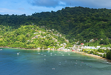 View over the bay of Charlotteville, Tobago, Trinidad and Tobago, West Indies, Caribbean, Central America