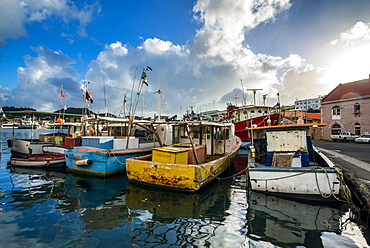 Fishing boats in the harbour of St. Georges, capital of Grenada, Windward Islands, West Indies, Caribbean, Central America