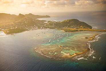 Aerial of Union Island at sunset, The Grenadines, St. Vincent and the Grenadines. Windward Islands, West Indies, Caribbean, Central America