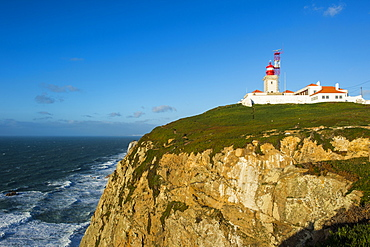 Lighthouse on the rocky cliffs of Europe´s most western point, Cabo da Roca, Portugal, Europe