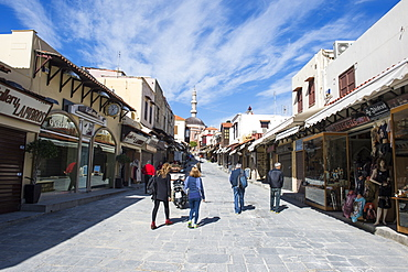 Street leading up to the Suleymaniye Mosque, the Medieval Old Town, UNESCO World Heritage Site, City of Rhodes, Rhodes, Dodecanese Islands, Greek Islands, Greece, Europe
