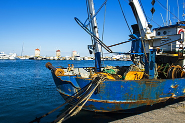 Fishing boat in the habour of the city of Rhodes, Rhodes, Dodecanese Islands, Greek Islands, Greece, Europe
