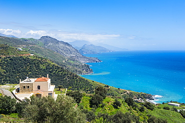 View over the south coast of Crete, Greek Islands, Greece, Europe