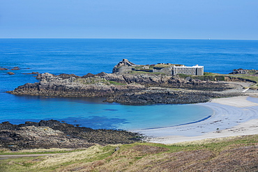 View over Chateau A L'Etoc (Chateau Le Toc) and Saye Beach, Alderney, Channel Islands, United Kingdom, Europe