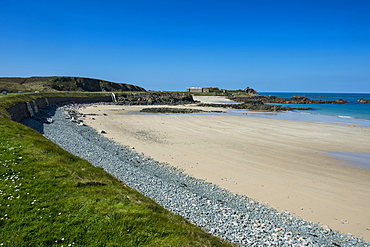 Corblets Bay with Chateau A L'Etoc (Chateau Le Toc), Alderney, Channel Islands, United Kingdom, Europe