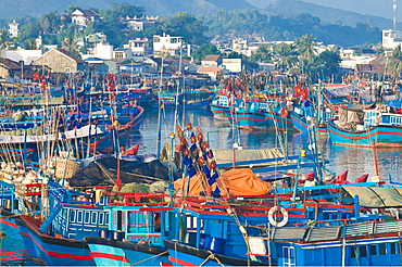 Colourful fishing boats at the habour of Nha Trang, Vietnam, Indochina, Southeast Asia, Asia