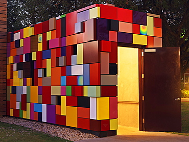 Colorful multi-colored building used as an entrance for parking garage at Discovery Park, Synchronicity of Color by Margo Sawyer, Houston, Texas, United States of America, North America