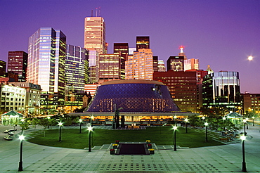 Roy Thomson Hall and the financial district at dusk, Toronto, Ontario, Canada, North America