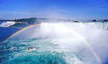 Rainbow over Maid of the Mist and Niagara Falls (Canadian Falls), Niagara Falls, Ontario, Canada, North America