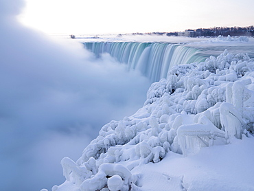 Canadian Falls in winter, Niagara Falls, Ontario, Canada, North America