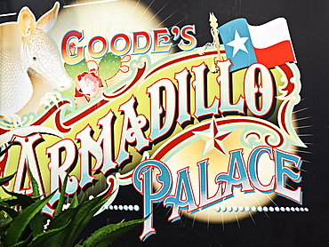 Sign for Armadillo Palace, a famous Houston BBQ restaurant, Houston, Texas, United States of America, North America
