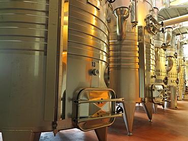 Wine fermentation tanks at Fielding Estate Winery, Beamsville, Ontario, Canada, North America
