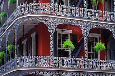 Detail of wrought iron balcony, French Quarter, New Orleans, Louisiana, United States of America, North America