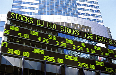 Stock market reader board, New York City, New York, United States of America, North America