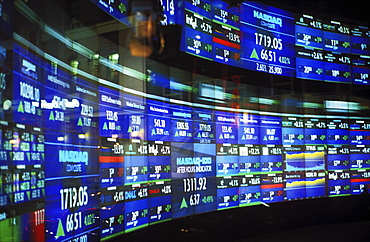 NASDAQ monitors displaying stock quotes, New York City, New York, United States of America, North America