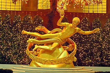 Statue of Prometheus, Rockefeller Center, New York City, New York, United States of America, North America