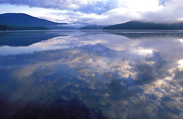Reflection of clouds in the water of Lake Placid, Adirondack State Park, New York State, United States of America, North America