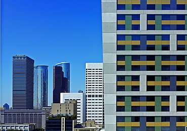 View of commercial buildings in downtown Houston, Houston, Texas, United States of America, North America