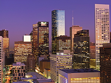 Skyline at at dawn, Houston, Texas, United States of America, North America