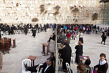 Wall segregating men and women at the Wailing Wall, Jerusalem, Israel, Middle East